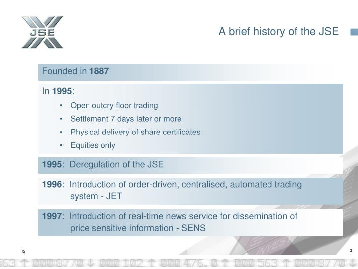 A brief history of the jse