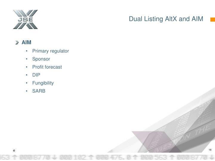 Dual Listing AltX and AIM