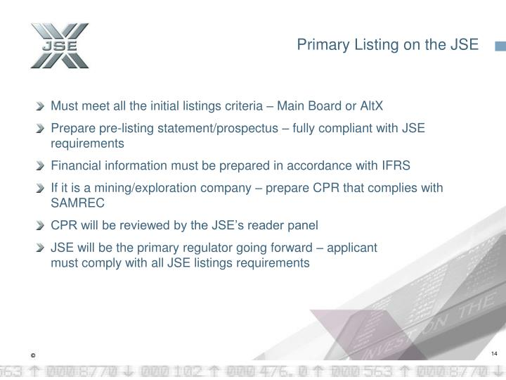 Primary Listing on the JSE