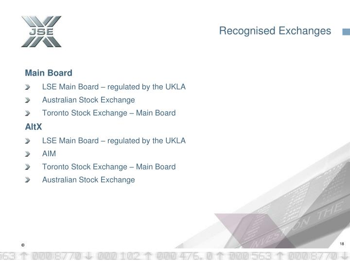 Recognised Exchanges