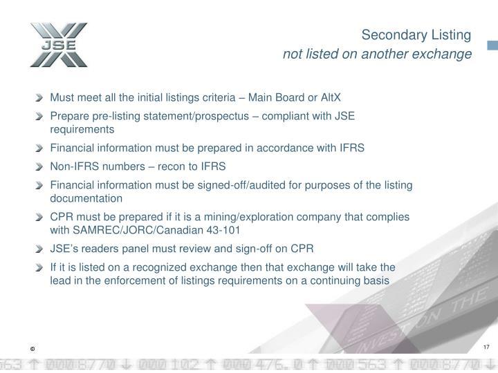Secondary Listing