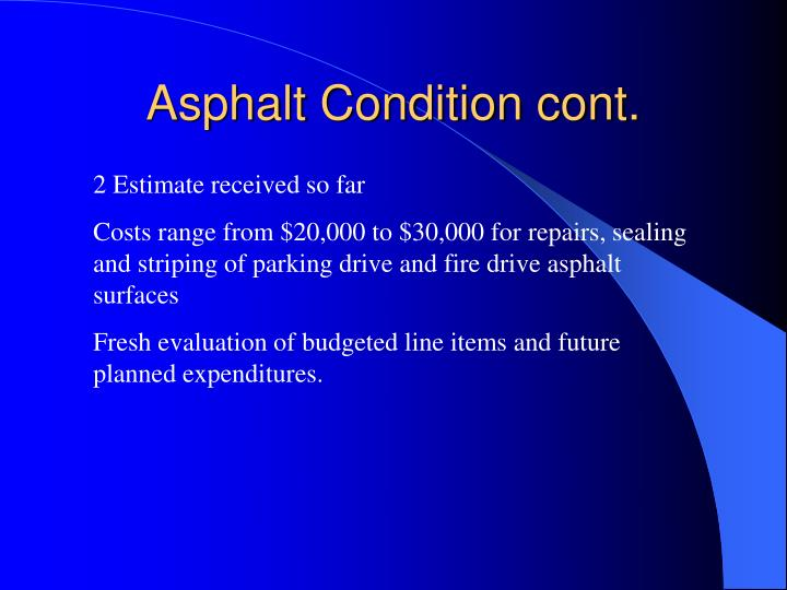 Asphalt Condition cont.