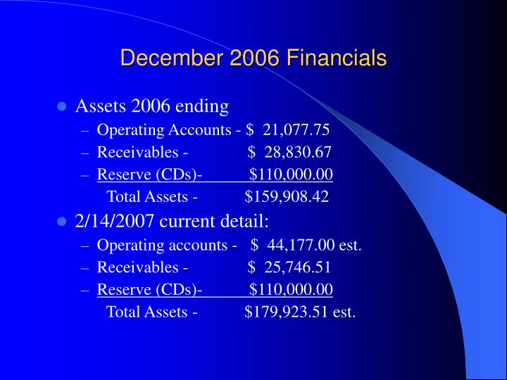 December 2006 financials