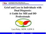 grief and loss in individuals with dual diagnosis a guide for mh and dd professionals