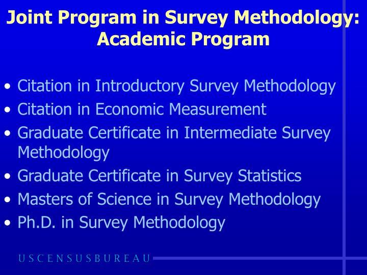 Joint program in survey methodology academic program
