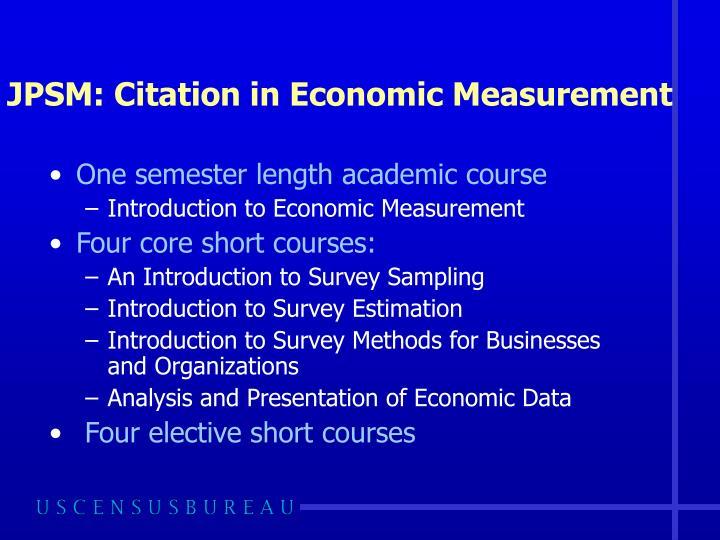 JPSM: Citation in Economic Measurement