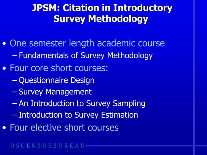 JPSM: Citation in Introductory Survey Methodology