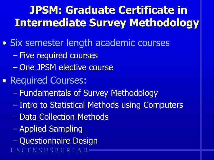 JPSM: Graduate Certificate in Intermediate Survey Methodology