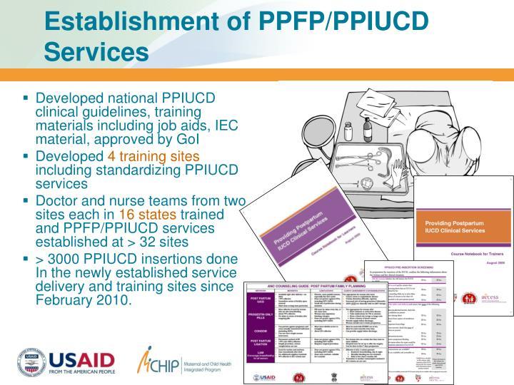 Establishment of PPFP/PPIUCD Services