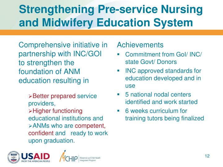 Strengthening Pre-service Nursing and Midwifery Education System