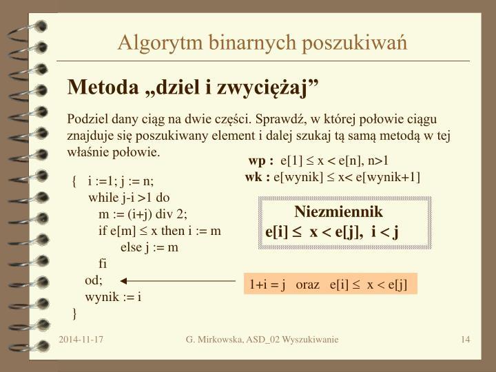 Algorytm binarnych poszukiwań