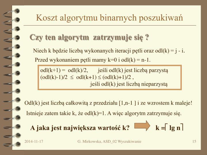 Koszt algorytmu binarnych poszukiwań