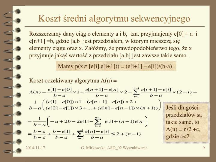 Koszt średni algorytmu sekwencyjnego