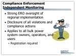 compliance enforcement independent monitoring