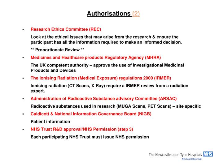 Authorisations