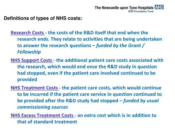 Definitions of types of NHS costs: