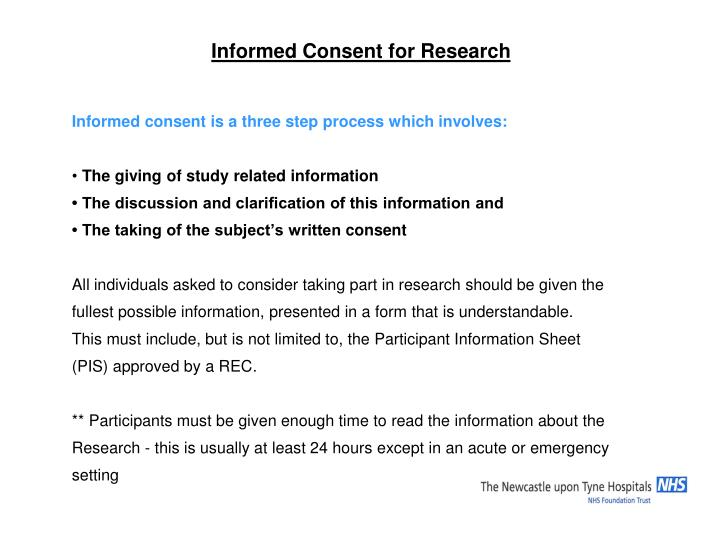 Informed Consent for Research