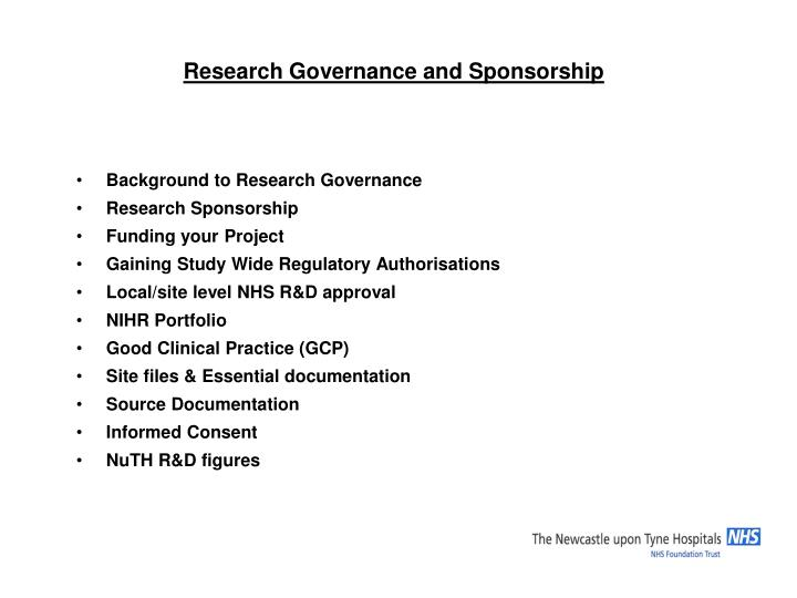 Research governance and sponsorship1