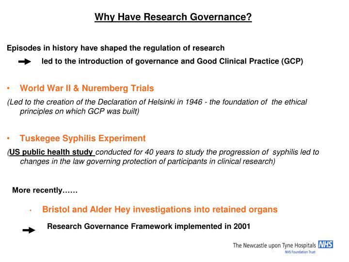 Why Have Research Governance?