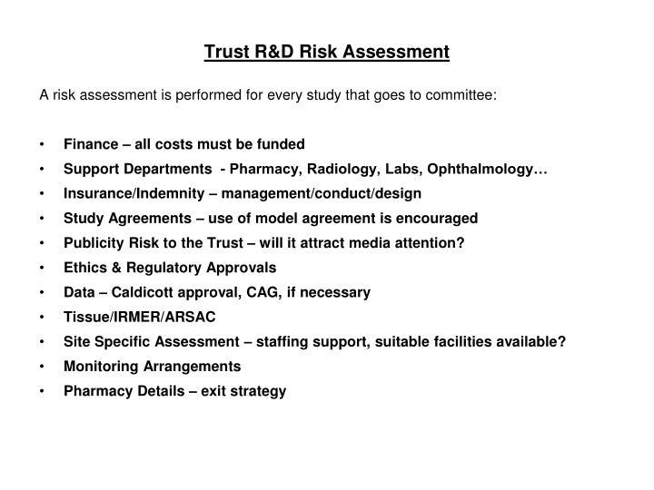 Trust R&D Risk Assessment