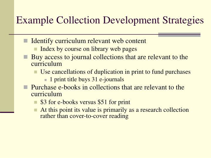 Example Collection Development Strategies