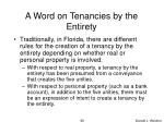 a word on tenancies by the entirety