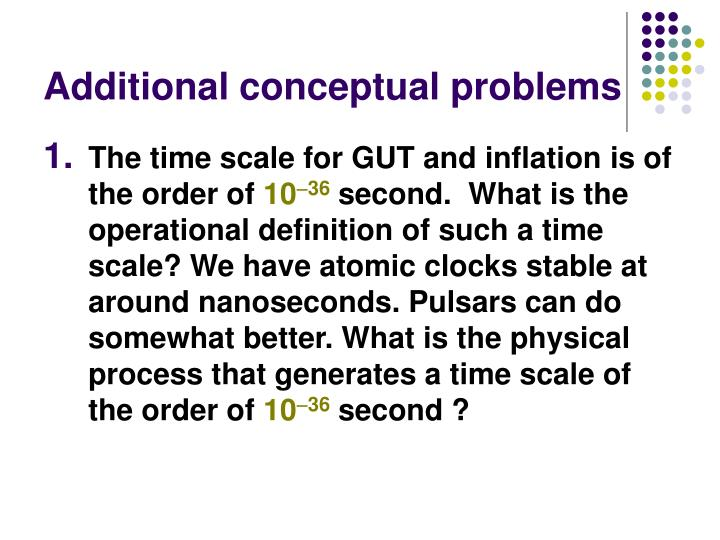 Additional conceptual problems