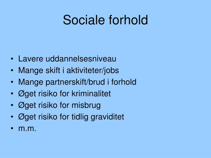 Sociale forhold