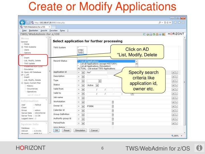 Create or Modify Applications