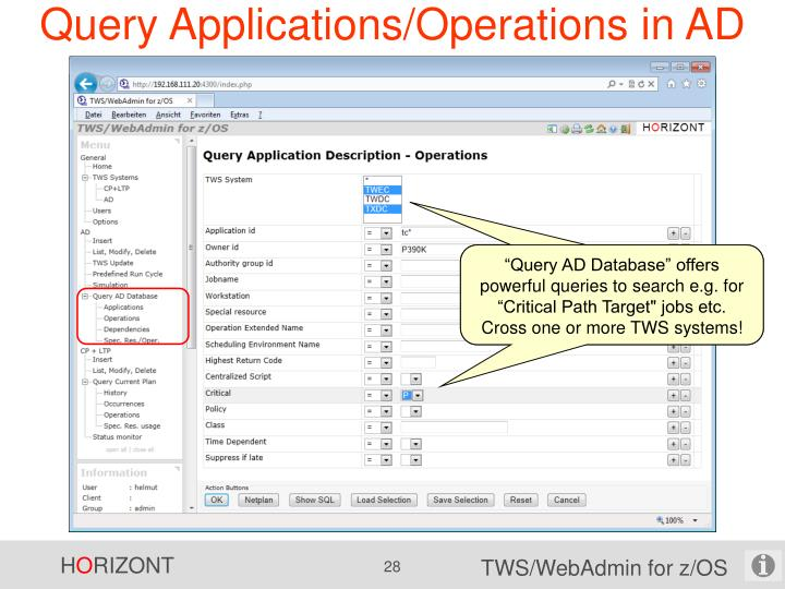 Query Applications/Operations in AD