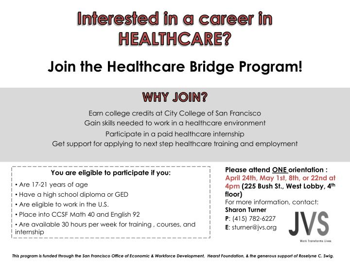 Interested in a career in HEALTHCARE?