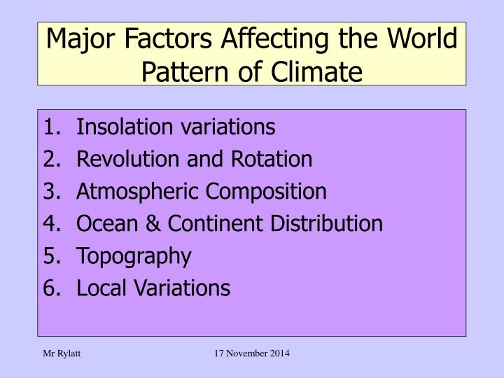 Major Factors Affecting the World Pattern of Climate