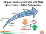 uid goals can be accelerated with state governments active participation