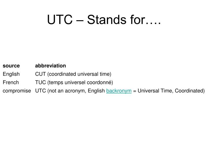 UTC – Stands for….