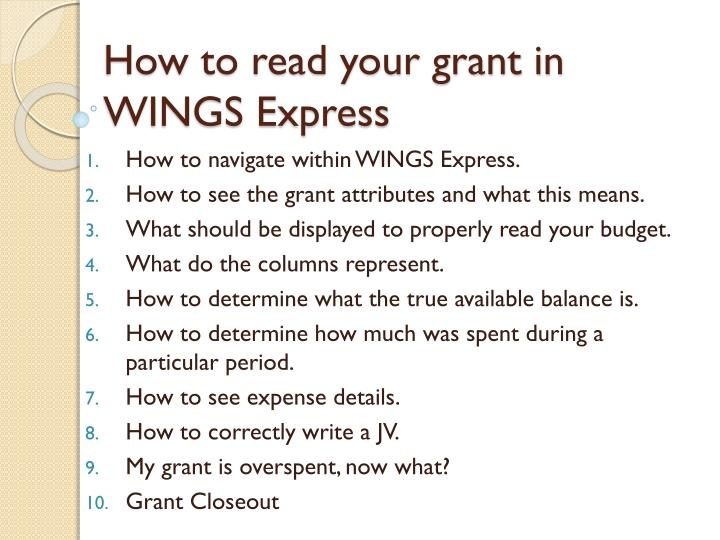 How to read your grant in wings express