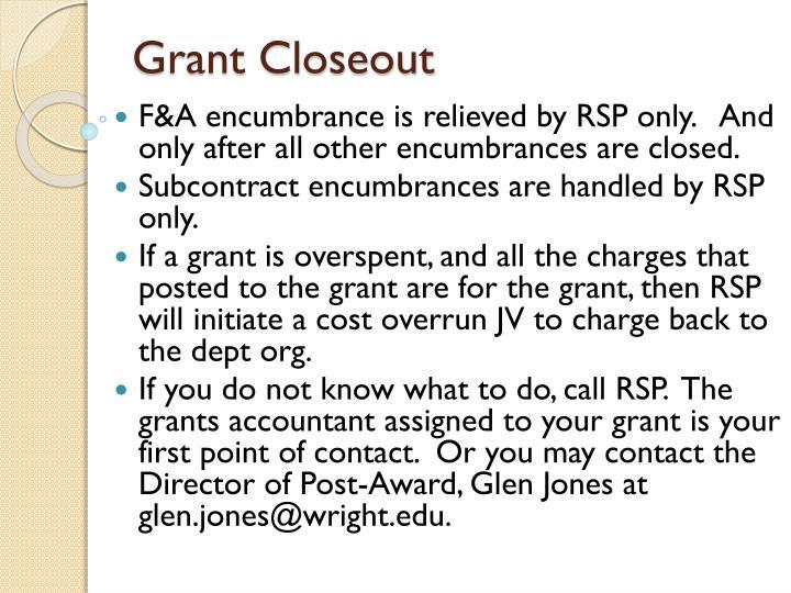 Grant Closeout