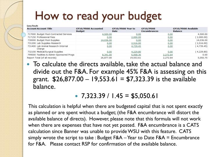 How to read your budget