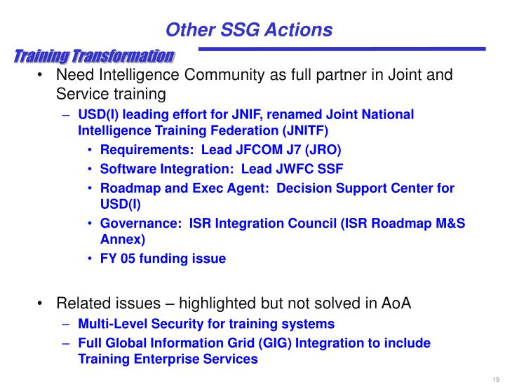 Other SSG Actions