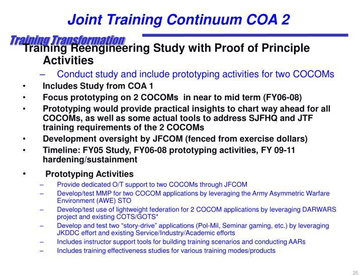 Joint Training Continuum COA 2