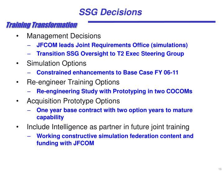 SSG Decisions