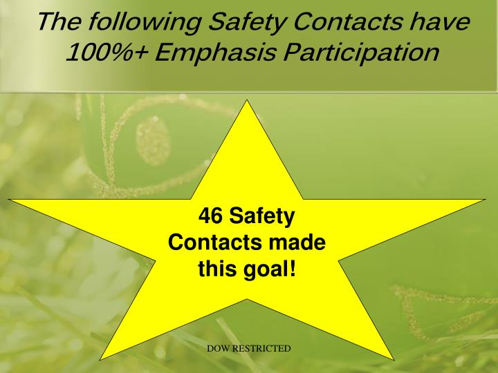 The following Safety Contacts have