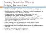 planning commission efforts at studying backwardness