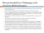 recommendations pedagogy and teaching methodologies