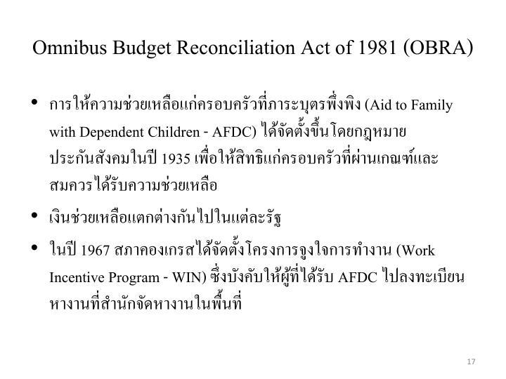 Omnibus Budget Reconciliation Act of 1981 (OBRA)