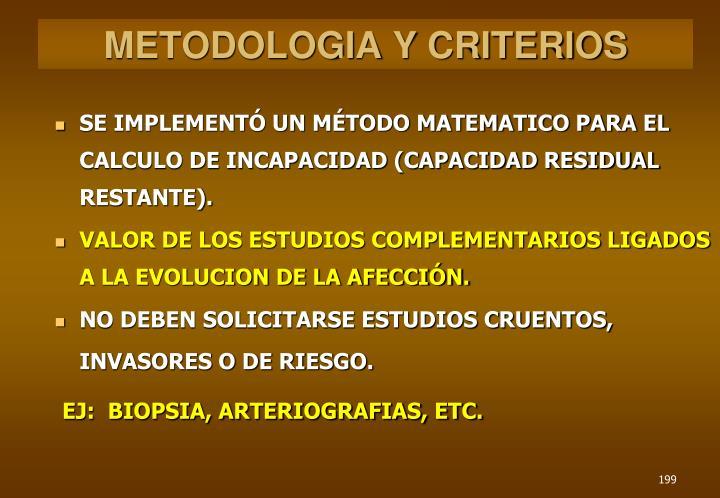 METODOLOGIA Y CRITERIOS