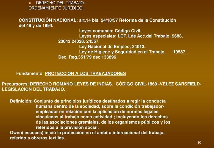 CONSTITUCIÓN NACIONAL: art.14 bis. 24/10/57 Reforma de la Constitución                  del 49 y de 1994.