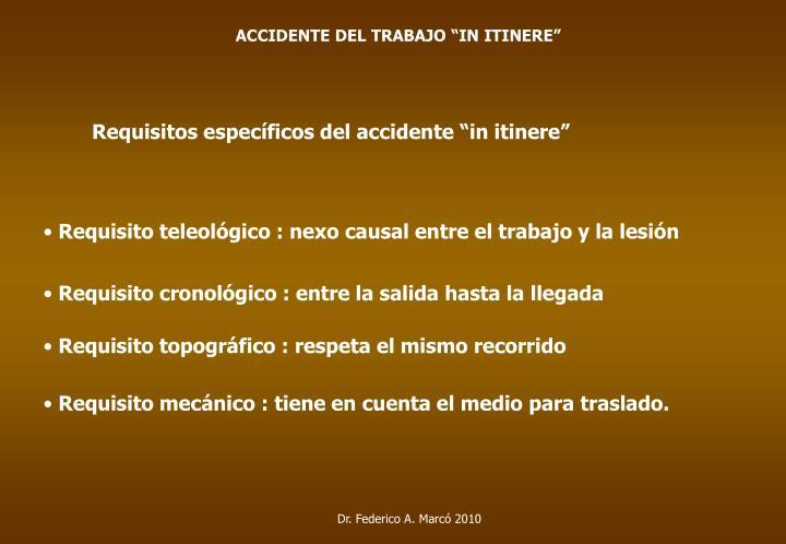 """ACCIDENTE DEL TRABAJO """"IN ITINERE"""""""