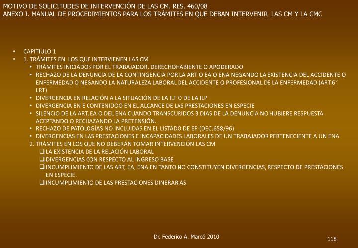 MOTIVO DE SOLICITUDES DE INTERVENCIÓN DE LAS CM. RES. 460/08