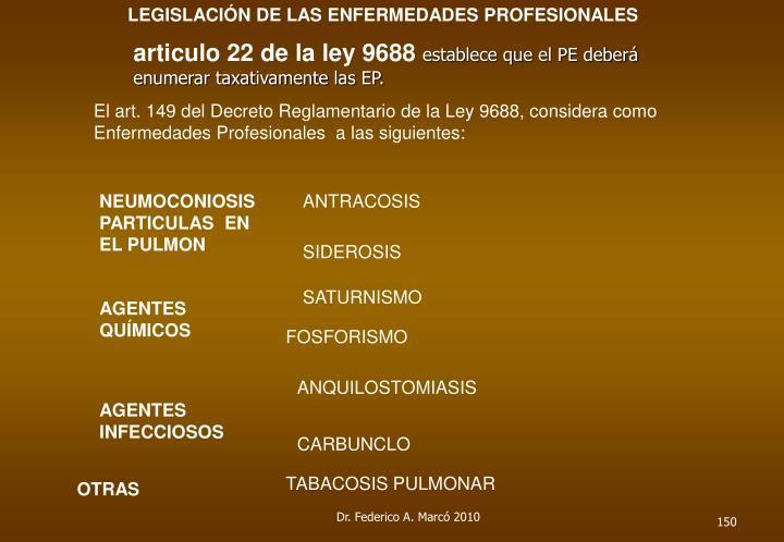 LEGISLACIÓN DE LAS ENFERMEDADES PROFESIONALES