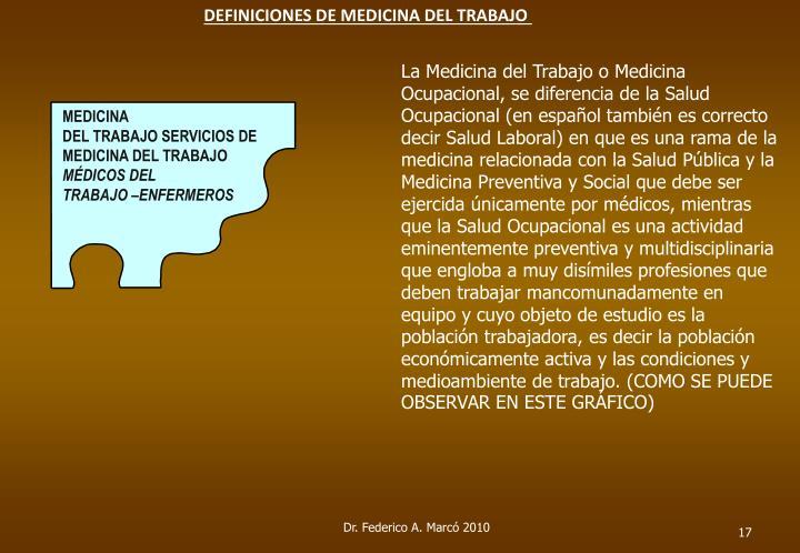 DEFINICIONES DE MEDICINA DEL TRABAJO